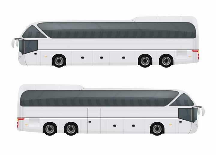 白色的长途客车大巴车侧视图png图片免抠矢量素材