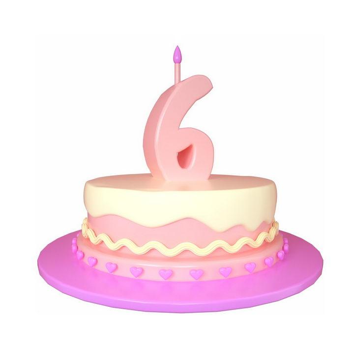 C4D风格6周岁生日快乐蛋糕png图片免抠素材 节日素材-第1张