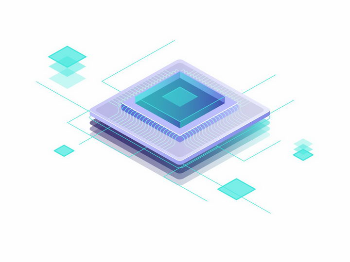 层叠状的集成电路电子元件线路png图片免抠矢量素材 IT科技-第1张