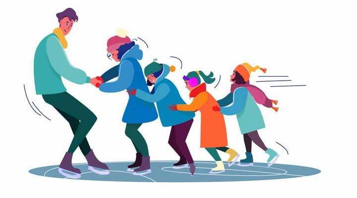 扁平插画爸爸带着一家人玩溜冰png图片免抠矢量素材