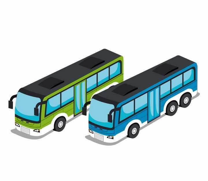 2款2.5D风格绿色和蓝色长途客车蓝色窗户汽车png图片免抠矢量素材