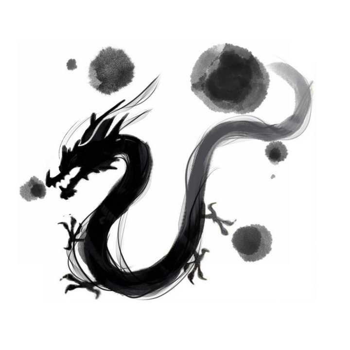 创意水墨画风格墨水中国龙png图片免抠素材
