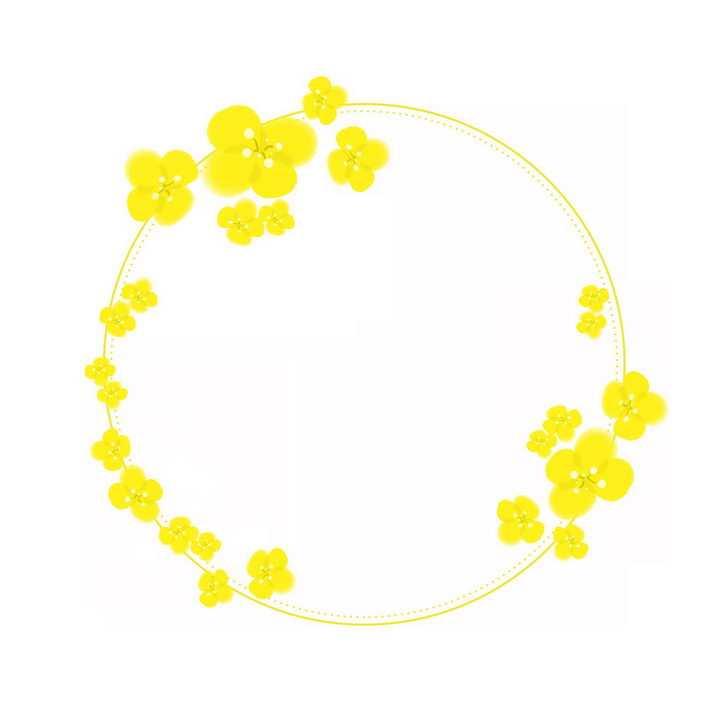 黄色油菜花组成的圆形文本框标题框png图片免抠素材