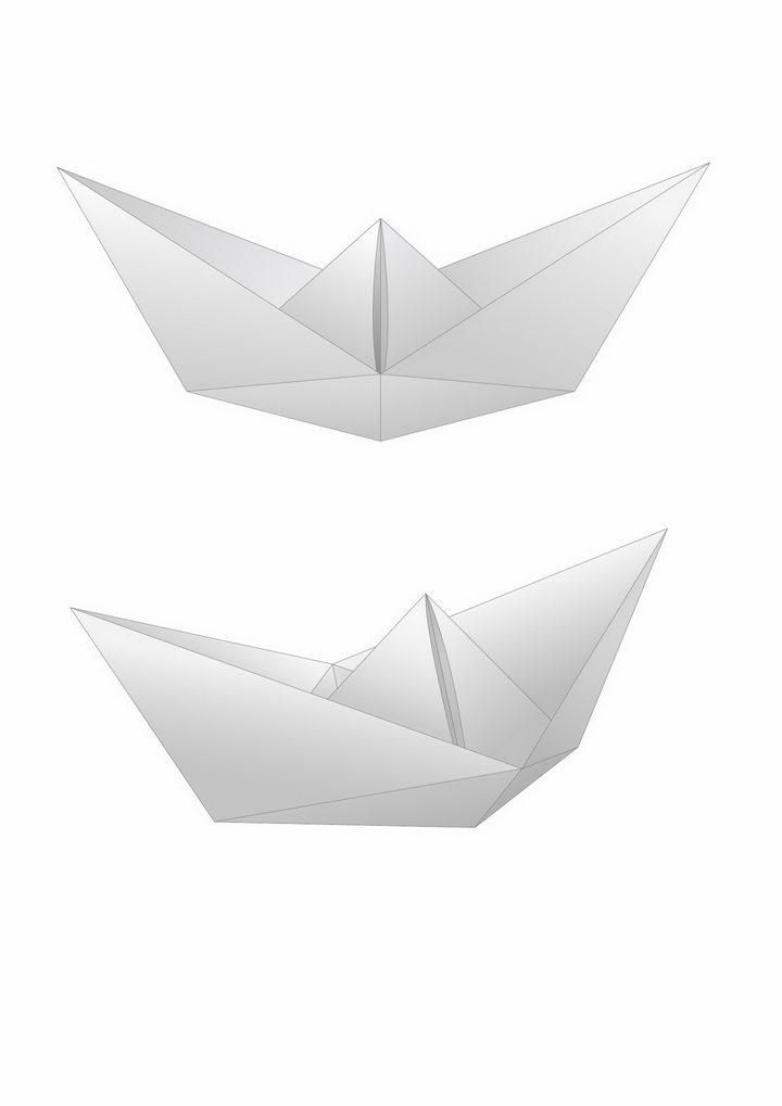 2个简约折纸船png图片免抠矢量素材 休闲娱乐-第1张
