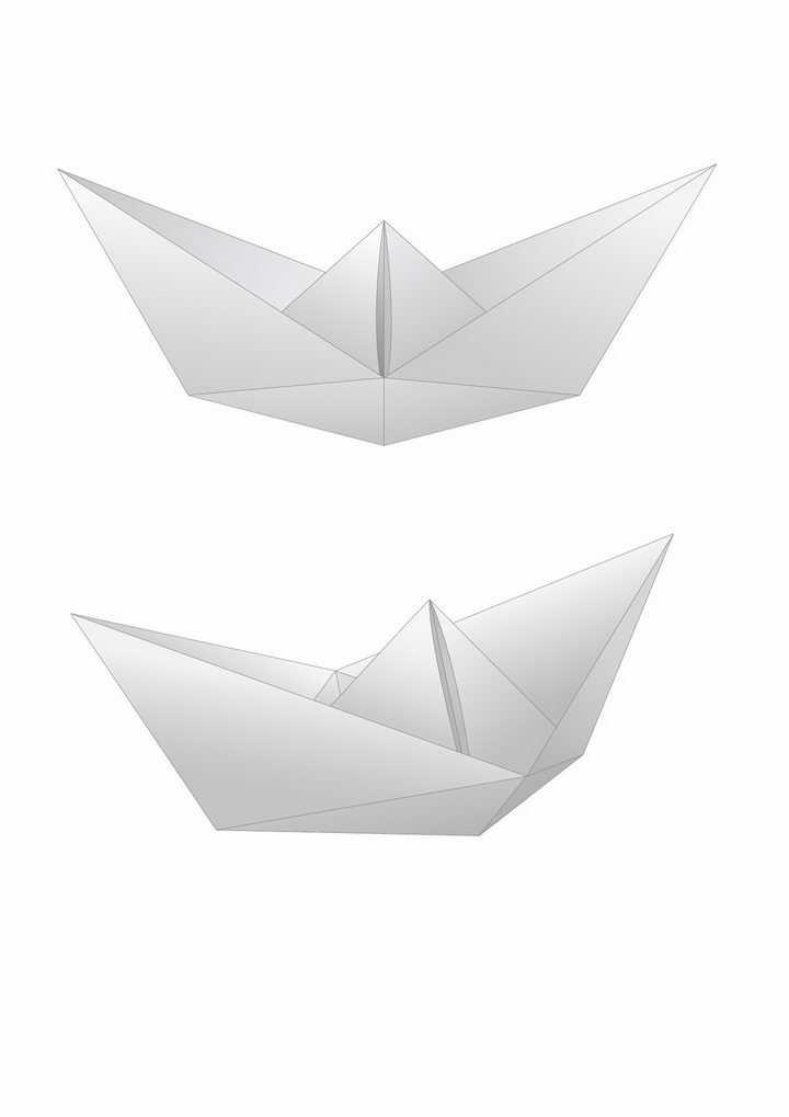 2个简约折纸船png图片免抠矢量素材