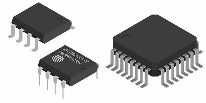 3款逼真的集成电路芯片电子元件png图片免抠矢量素材