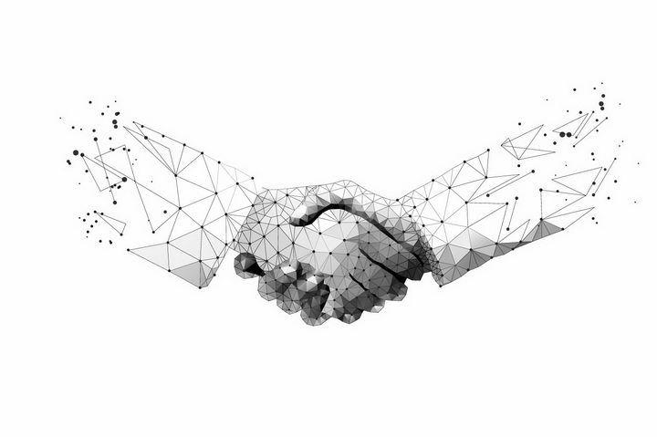 多边形组成的两只手正在握手png图片免抠eps矢量素材 商务职场-第1张