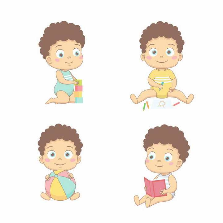 超可爱卡通宝宝玩玩具画画玩球和看书png图片免抠矢量素材