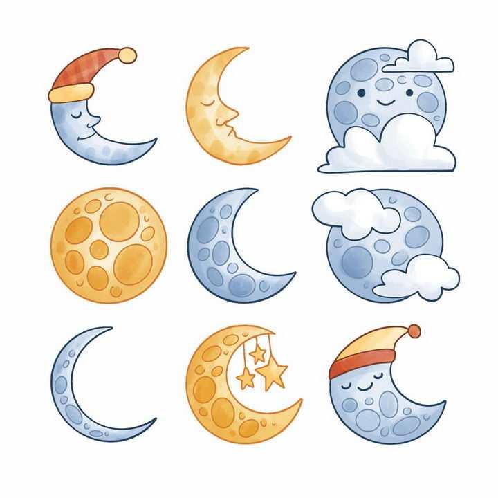 9款卡通带表情的月亮月相变化png图片免抠矢量素材