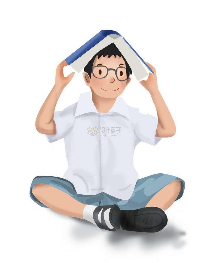彩绘风格卡通白衬衫男孩用书本放在头顶png图片免抠素材