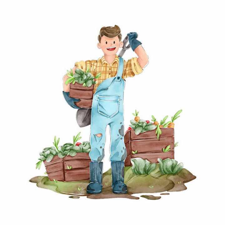 手绘插画采摘有机蔬菜的农民干农活png图片免抠素材