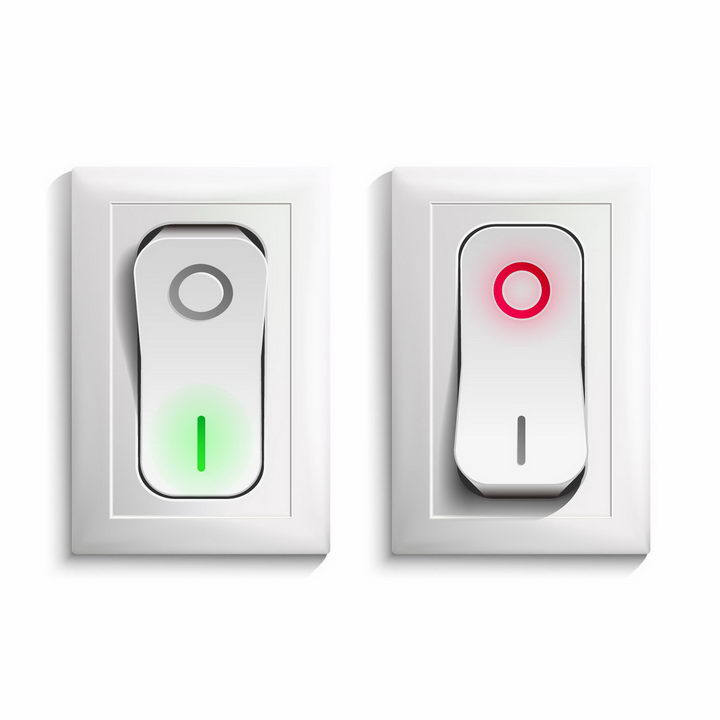 2款逼真的开关式按钮电灯开关png图片免抠矢量素材 生活素材-第1张