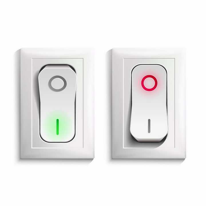 2款逼真的开关式按钮电灯开关png图片免抠矢量素材