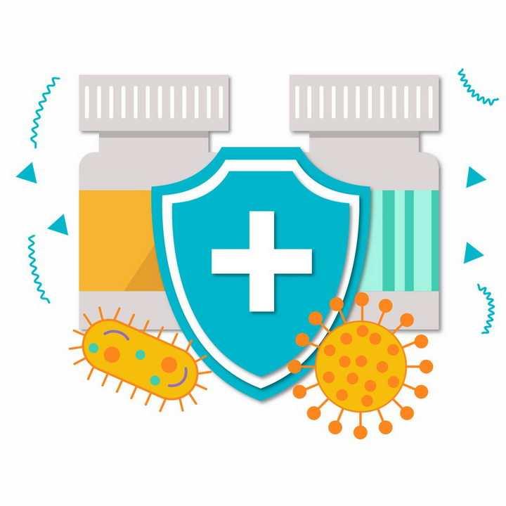 扁平化风格蓝色防护盾和药瓶病毒医学医疗png图片免抠矢量素材