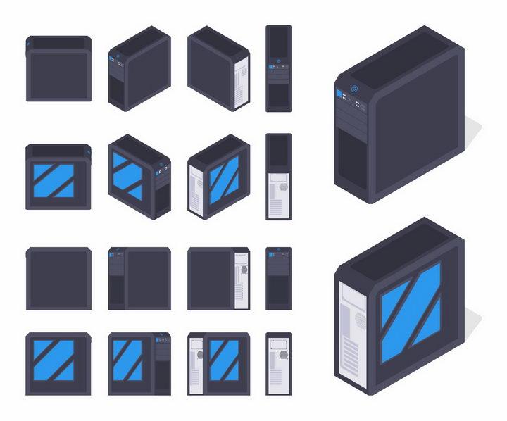 4种不同的电脑主机机箱样式png图片免抠矢量素材 IT科技-第1张