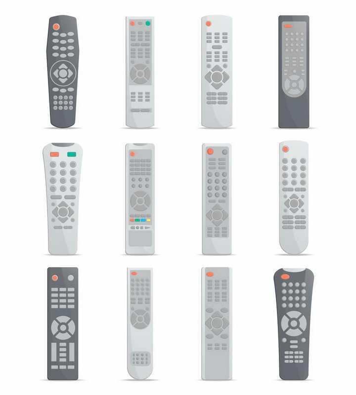 12款电视机遥控器万能遥控器png图片免抠矢量素材