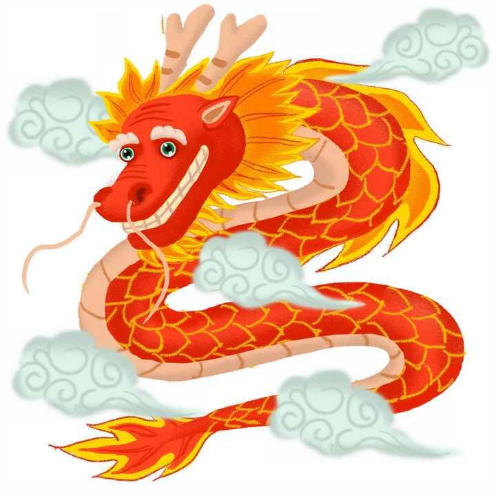 可爱的红色中国龙和祥云图案png图片免抠素材
