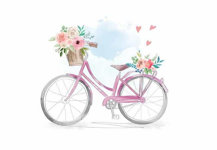 彩绘风格放着鲜花的粉色自行车png图片免抠矢量素材