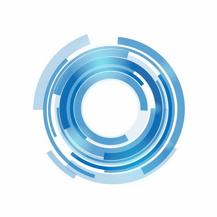 经典蓝色科幻科技风格圆环装饰png图片免抠ai矢量素材 装饰素材-第1张