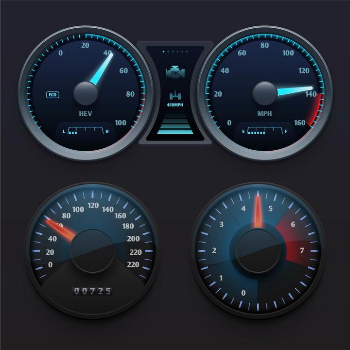 逼真的汽车仪表盘速度表档位表等显示界面png图片免抠矢量素材 交通运输-第1张
