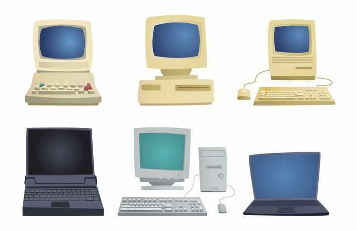 6款复古风格的卡通电脑和笔记本电脑png图片免抠矢量素材