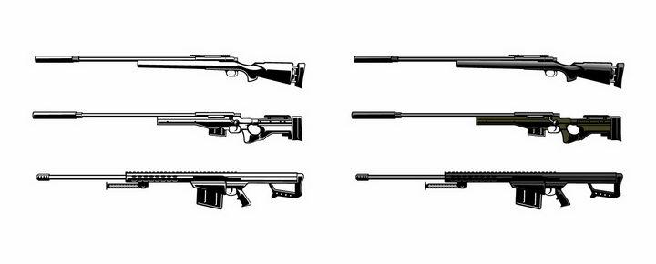 6款黑白色的狙击步枪png图片免抠矢量素材 军事科幻-第1张
