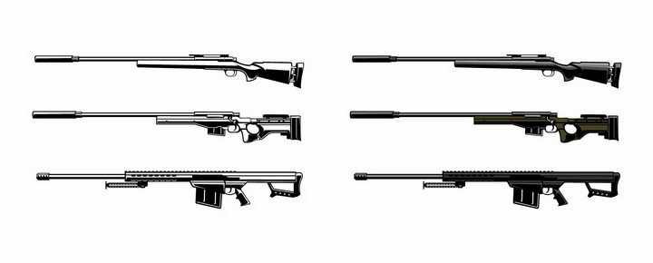 6款黑白色的狙击步枪png图片免抠矢量素材