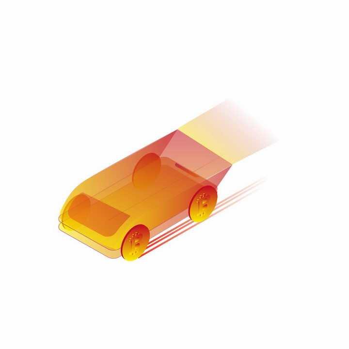 科幻风格橙色未来汽车png图片免抠ai矢量素材