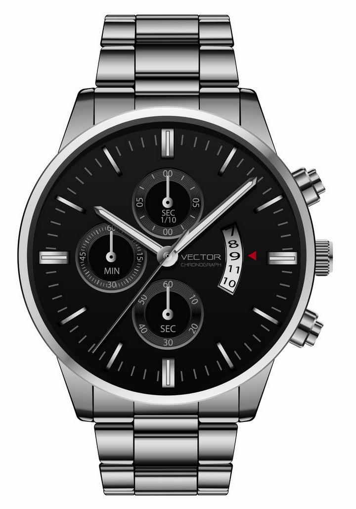 黑色表盘银色表带的男士机械手表png图片免抠矢量素材 生活素材-第1张