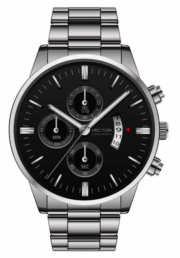 黑色表盘银色表带的男士机械手表png图片免抠矢量素材