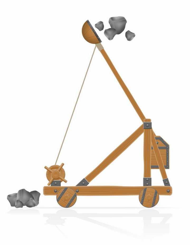 正在发射石头的木制投石车侧面图png图片免抠素材