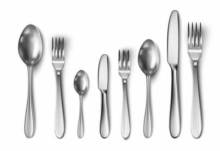 带阴影的不锈钢勺子汤勺餐刀叉子等西餐餐具png图片免抠素材