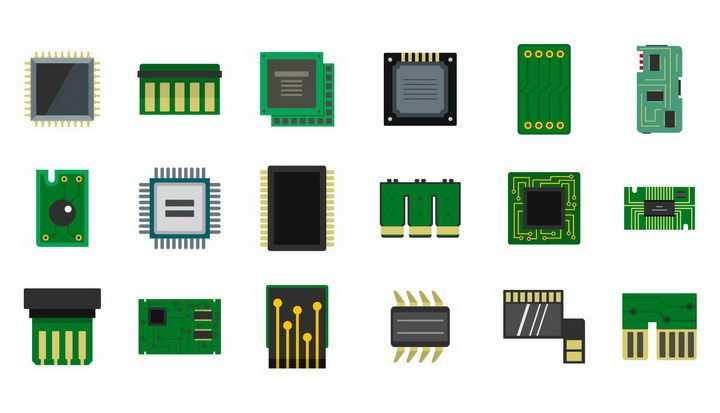 18款CPU处理器集成电路写实图标png图片免抠矢量素材