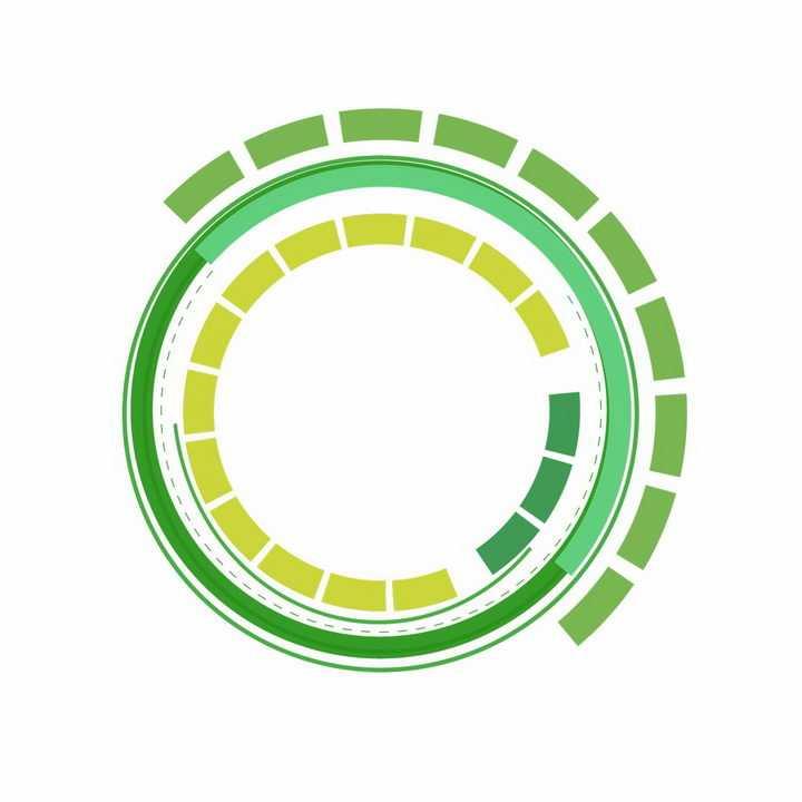 绿色科幻科技风格圆环装饰png图片免抠ai矢量素材