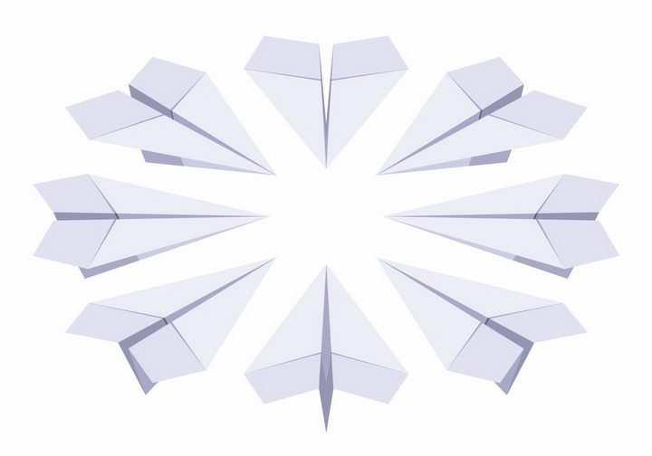 围成一圈的折纸纸飞机png图片免抠矢量素材