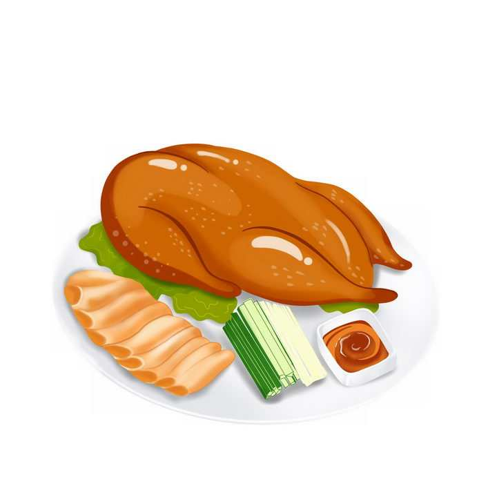 手绘风格美味的北京烤鸭png图片免抠素材