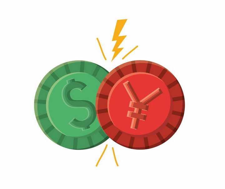 美元和人民币筹码的对决象征了中美贸易战png图片免抠素材