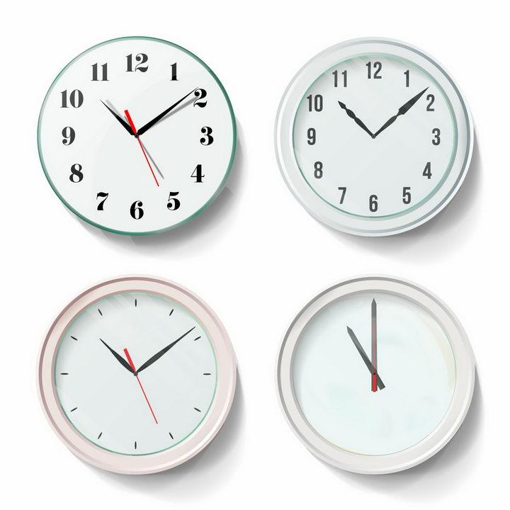 4款淡绿色的时钟png图片免抠矢量素材 生活素材-第1张