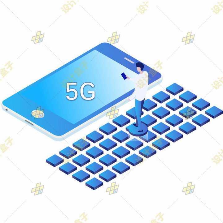 2.5D风格站在蓝色矩阵上的年轻人正在使用5G手机png图片免抠素材