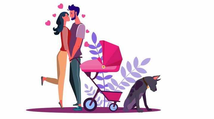 扁平插画推着婴儿车的年轻夫妻情侣热吻和狗狗一起遛狗散步png图片免抠矢量素材