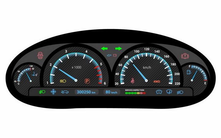 逼真的液晶显示汽车仪表盘速度表png图片免抠矢量素材 交通运输-第1张