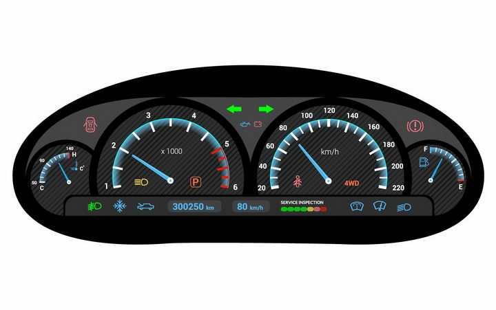 逼真的液晶显示汽车仪表盘速度表png图片免抠矢量素材