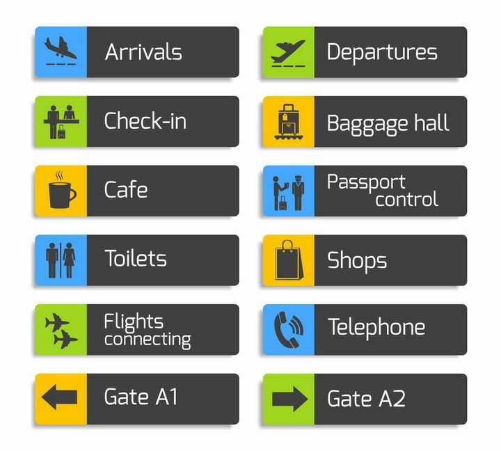 12款飞机场导航标志指示牌png图片免抠矢量素材