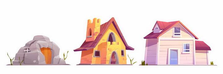 卡通漫画风格山洞砖瓦房和木头房子png图片免抠矢量素材 建筑装修-第1张