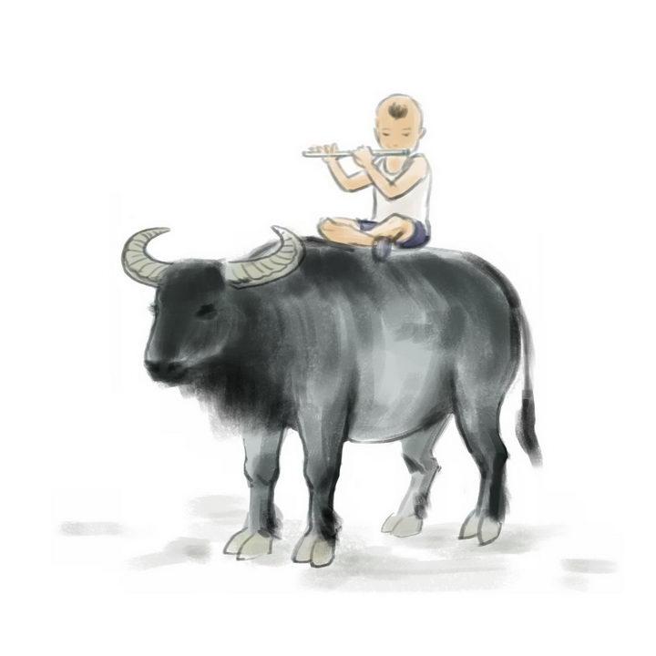 水墨画风格坐在牛背上吹笛子的放牛娃png图片免抠素材 生活素材-第1张