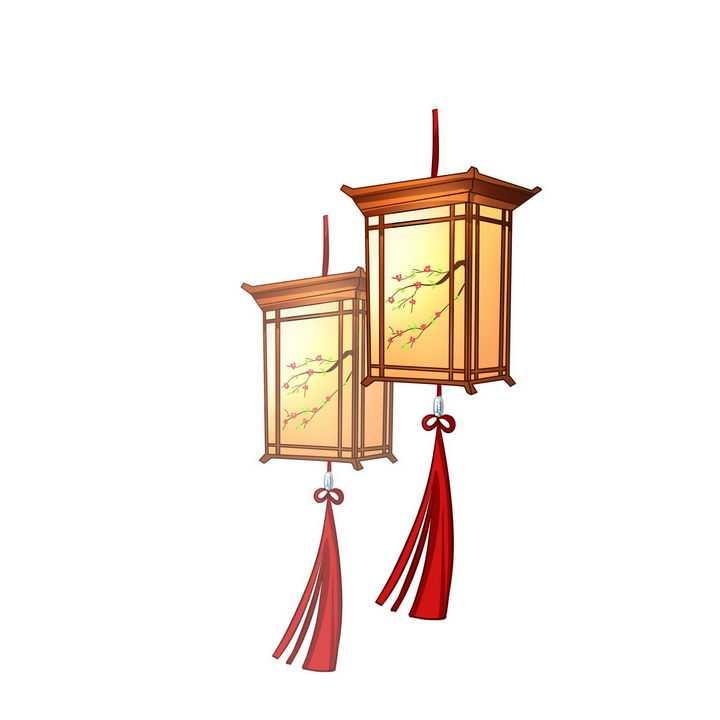 两款中国风的四角灯笼png图片免抠素材