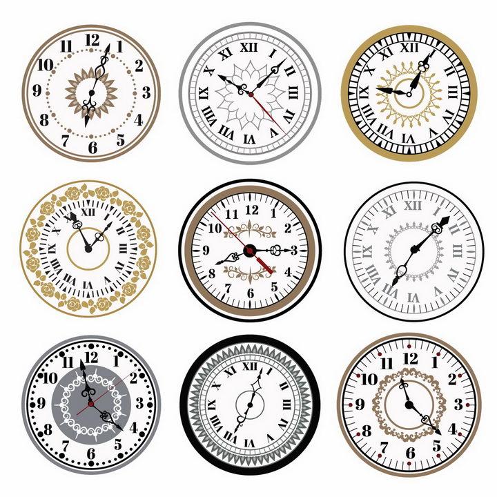 9款复古风格时钟表盘时针分钟png图片免抠矢量素材 生活素材-第1张