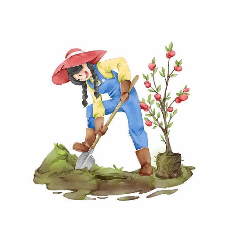 手绘插画栽种果树的女农民植树干农活png图片免抠素材