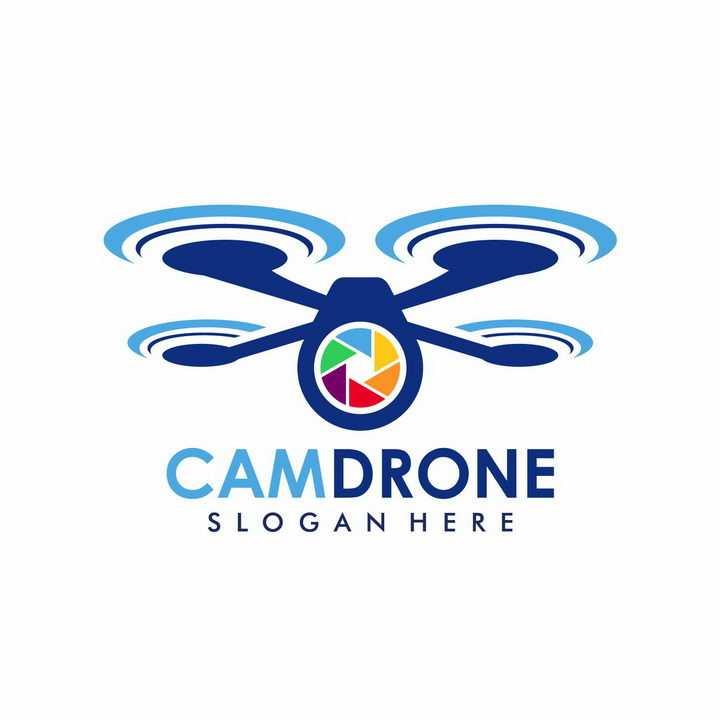 蓝色无人机和摄像头logo设计方案png图片免抠矢量素材