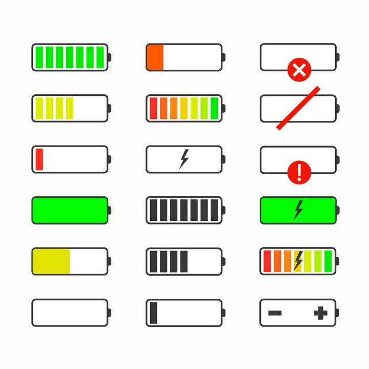 18款各种状态的电池电量显示图标png图片免抠eps矢量素材 IT科技-第1张
